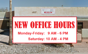 OFFICE HOURS: Monday - Friday:  9:00 am - 6:00 pm Saturday:  10:00 am - 4:00 pm